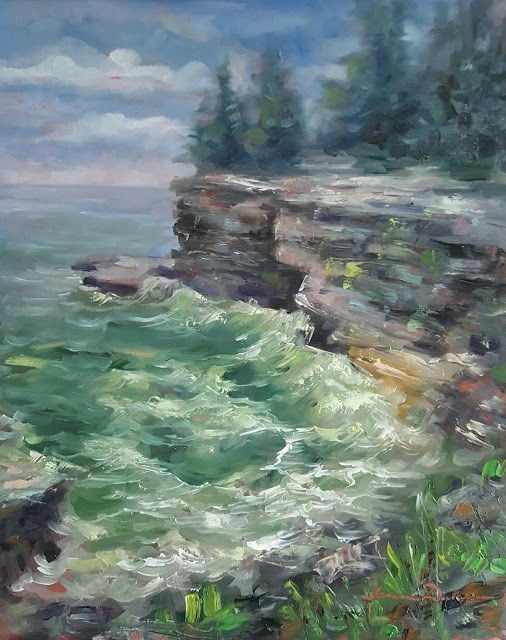 """Churning Water at Cave Point"" original fine art by Tammie Dickerson"