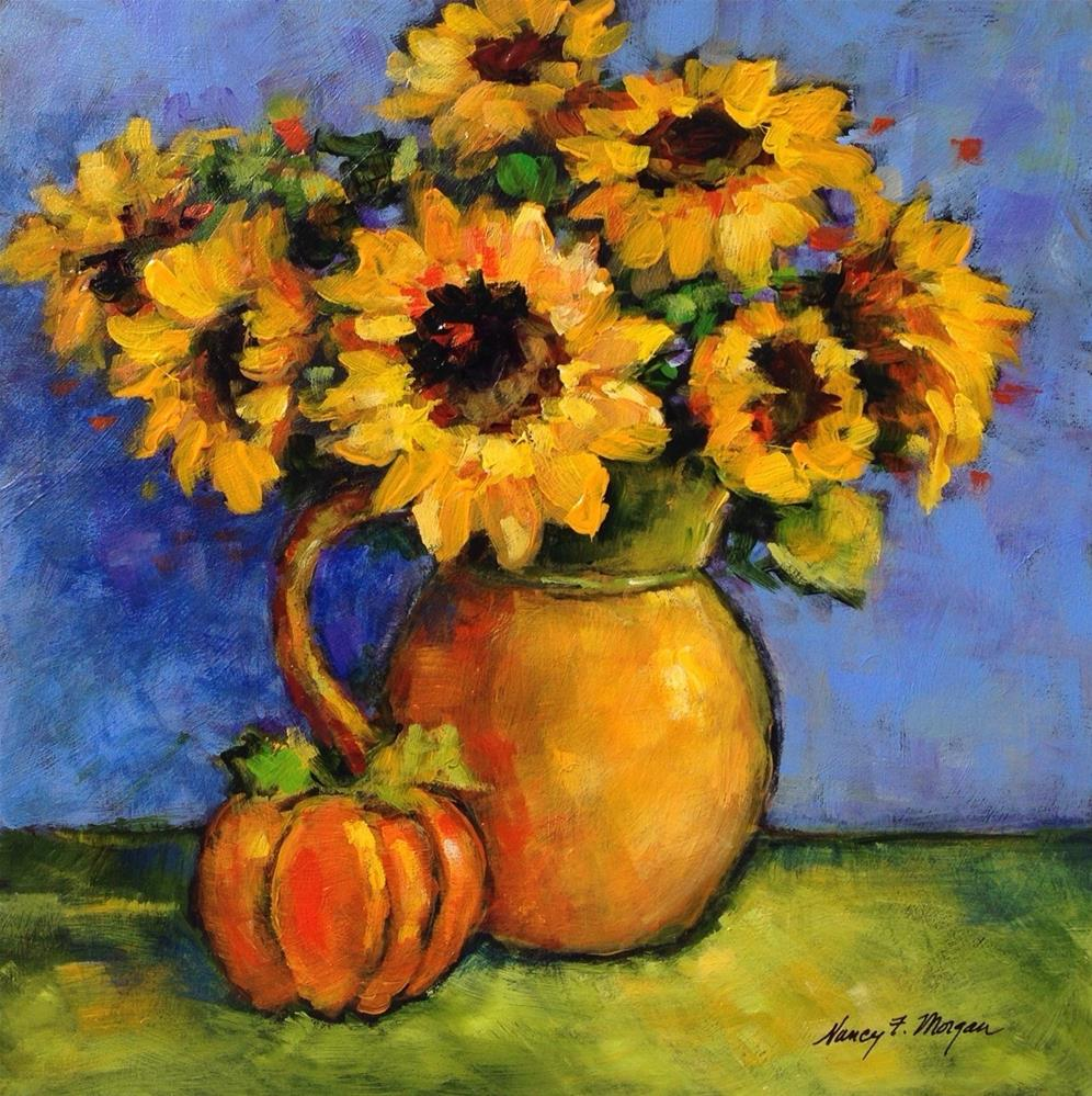 """Autumn Sunflowers"" original fine art by Nancy F. Morgan"