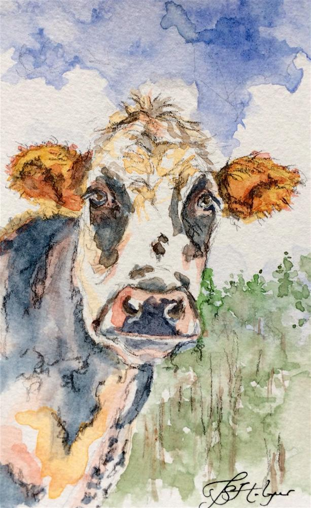 """Cow From Below"" original fine art by Jen Holyer"