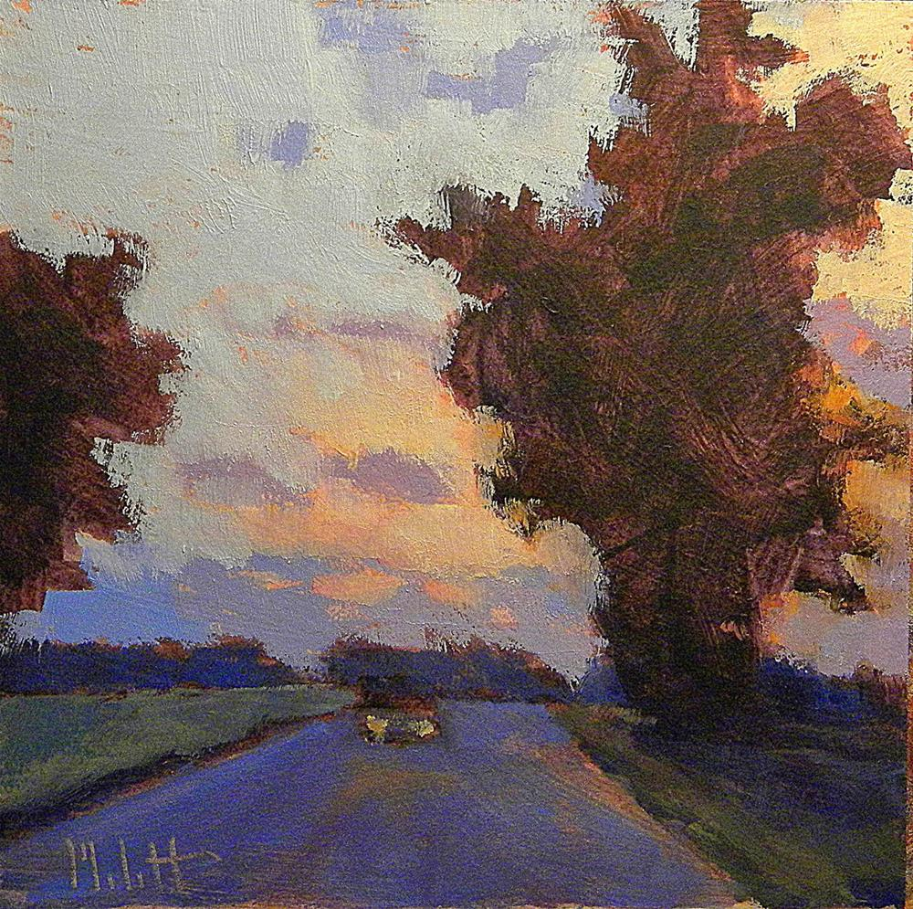 """""""Driving Country Road at Dusk Sunset Original Art Heidi Malott"""" original fine art by Heidi Malott"""