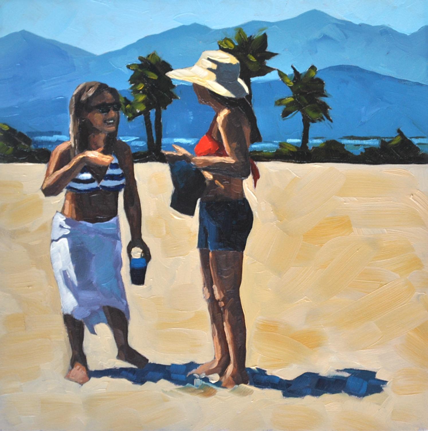 """""""Beach Chat - 6x6"""" original fine art by Sharon Schock"""