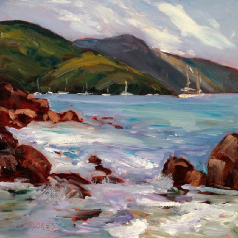 """Rocks and Surf I"" original fine art by Claudia L Brookes"