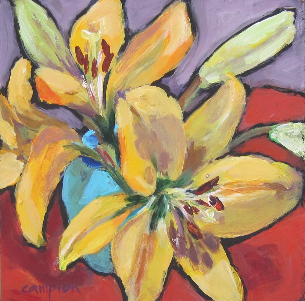 """113 Lilies in a Van Briggle Vase"" original fine art by Diane Campion"