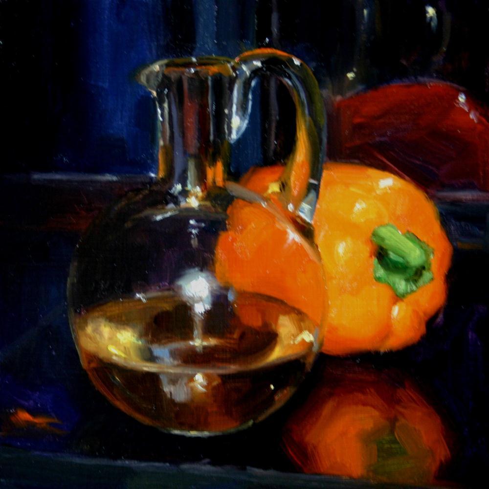 """Olive oil and yellow pepper"" original fine art by Liz Balkwill"