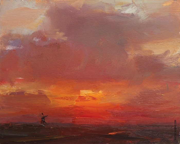 """Orange Red Sunrise"" original fine art by Roos Schuring"
