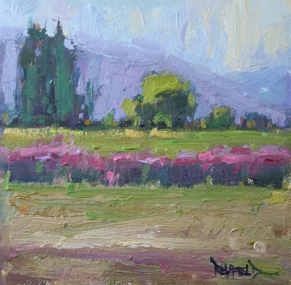 """Summer at Rasmussen Farms in Hood River Valley"" original fine art by Cathleen Rehfeld"
