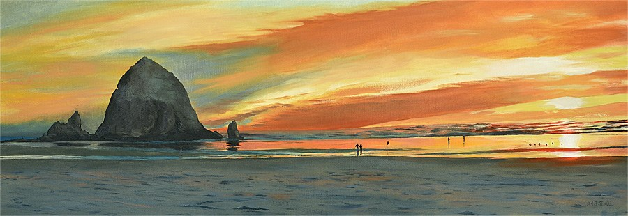 """Cannon Beach Glow"" original fine art by Andy Sewell"