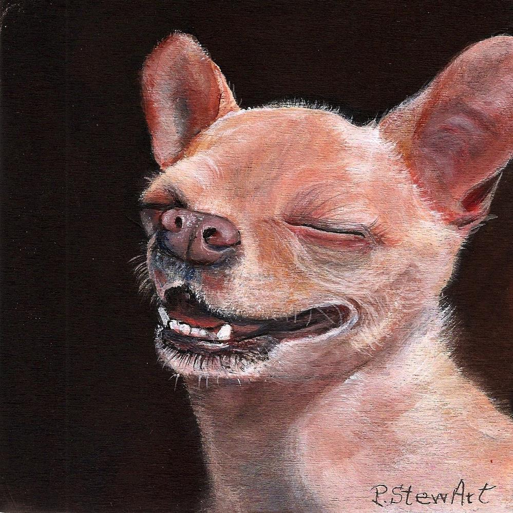 """""""6x6 Chihuahua Orion Smiling Laughing a Dog Full of Joy SFA Penny StewArt"""" original fine art by Penny Lee StewArt"""