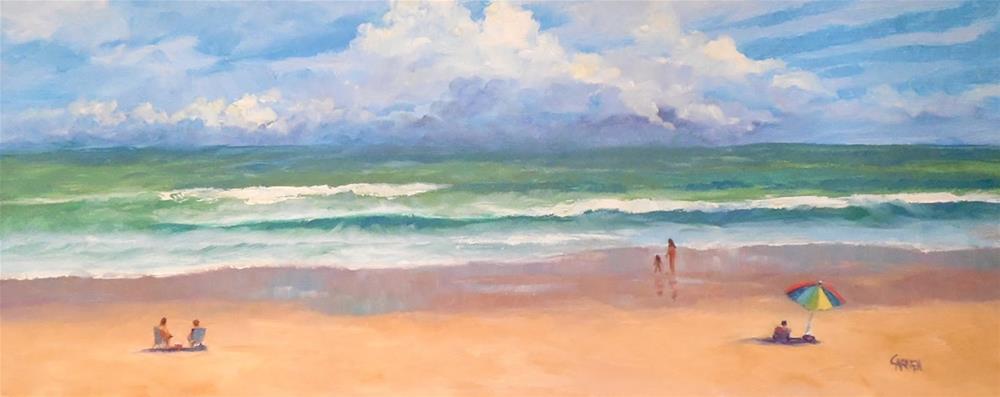 """""""Beach Scene, 20x7.5 Oil Painting Seascape on Panel, Framed"""" original fine art by Carmen Beecher"""