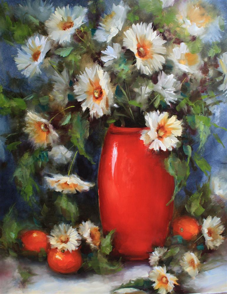 """""""Rise and Shine Oranges and Daisies"""" original fine art by Nancy Medina"""