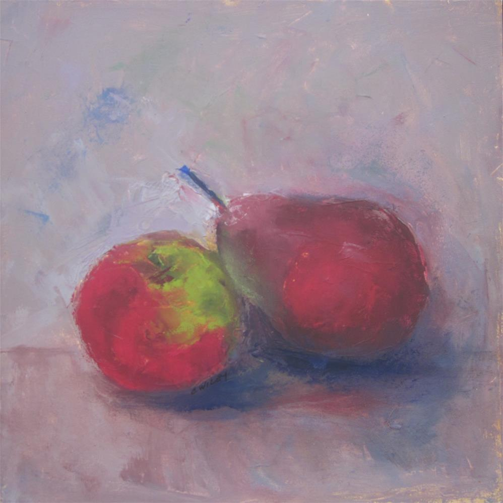 """Apple and Pear"" original fine art by Carol Wiley"
