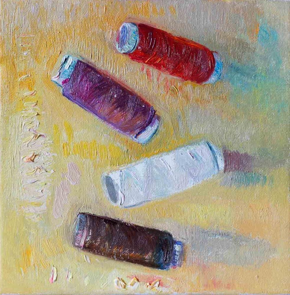 """Four Spools Of Thread On A Yellow Canvas"" original fine art by Anna Fine Art"