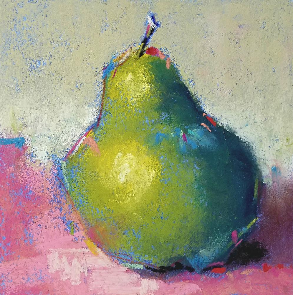 """""""Blue Green Pear Number 9 with glass"""" original fine art by Cindy Haase"""