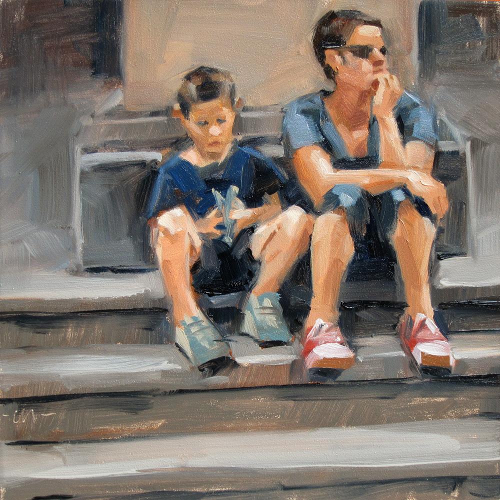 """Waiting on the Steps"" original fine art by Carol Marine"