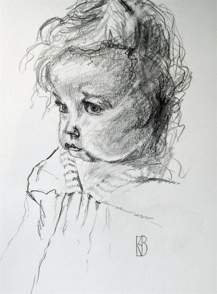 """""""Saddened angel"""" original fine art by Kathleen Barnes"""