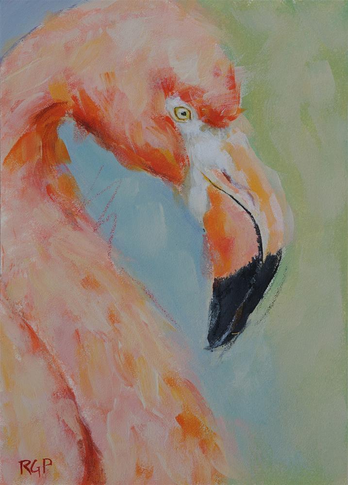 """Pink Flamingo"" original fine art by Rhea  Groepper Pettit"