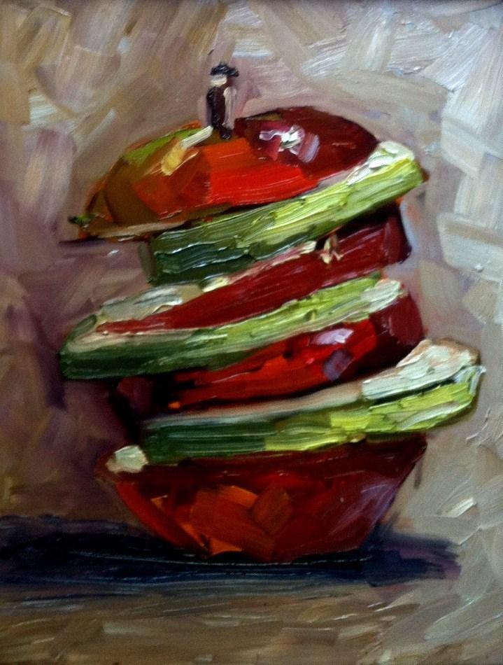 """""""Apple tower"""" original fine art by Kristen Dukat"""