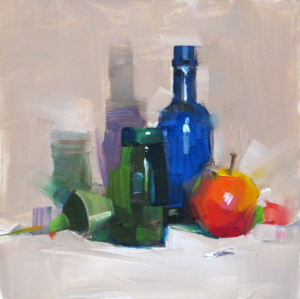 """Apple and bottles"" original fine art by Qiang Huang"