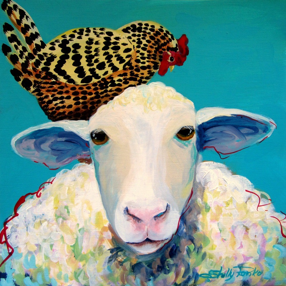 """""""Henny and Wooly"""" original fine art by Shelly Penko"""