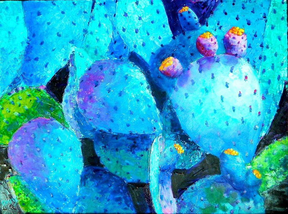 """Blue Prickly Pear"" original fine art by Phyllis Davis"