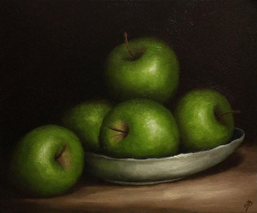 """Green Apples in Dish"" original fine art by Jane Palmer"