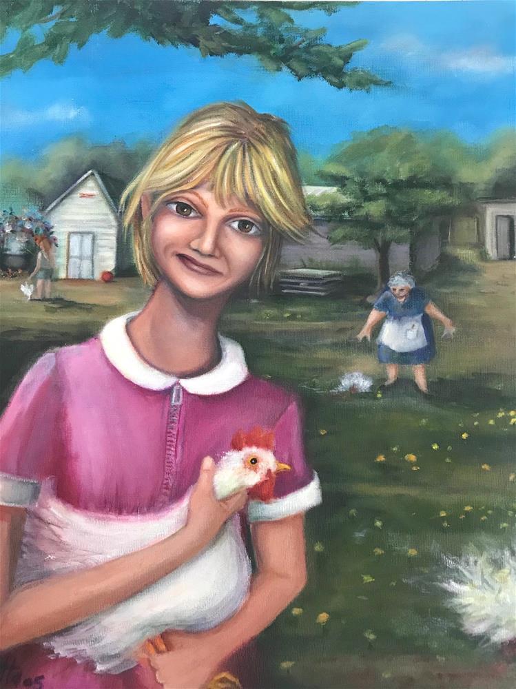 """""""Chicken Killer"""" original fine art by Joetta Currie"""