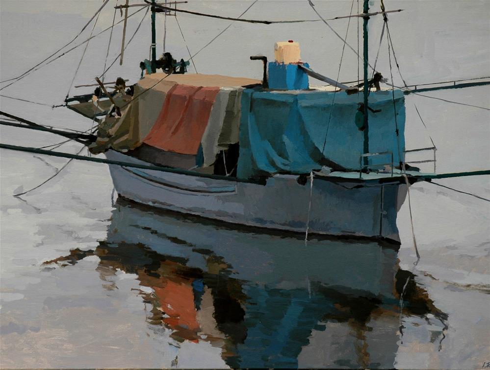 """The Blue Boat"" original fine art by J. Puente"