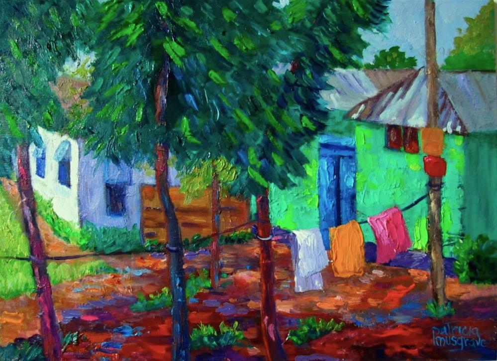 """""""Green House on Charigram Road, Bangladesh"""" original fine art by Patricia Musgrave"""