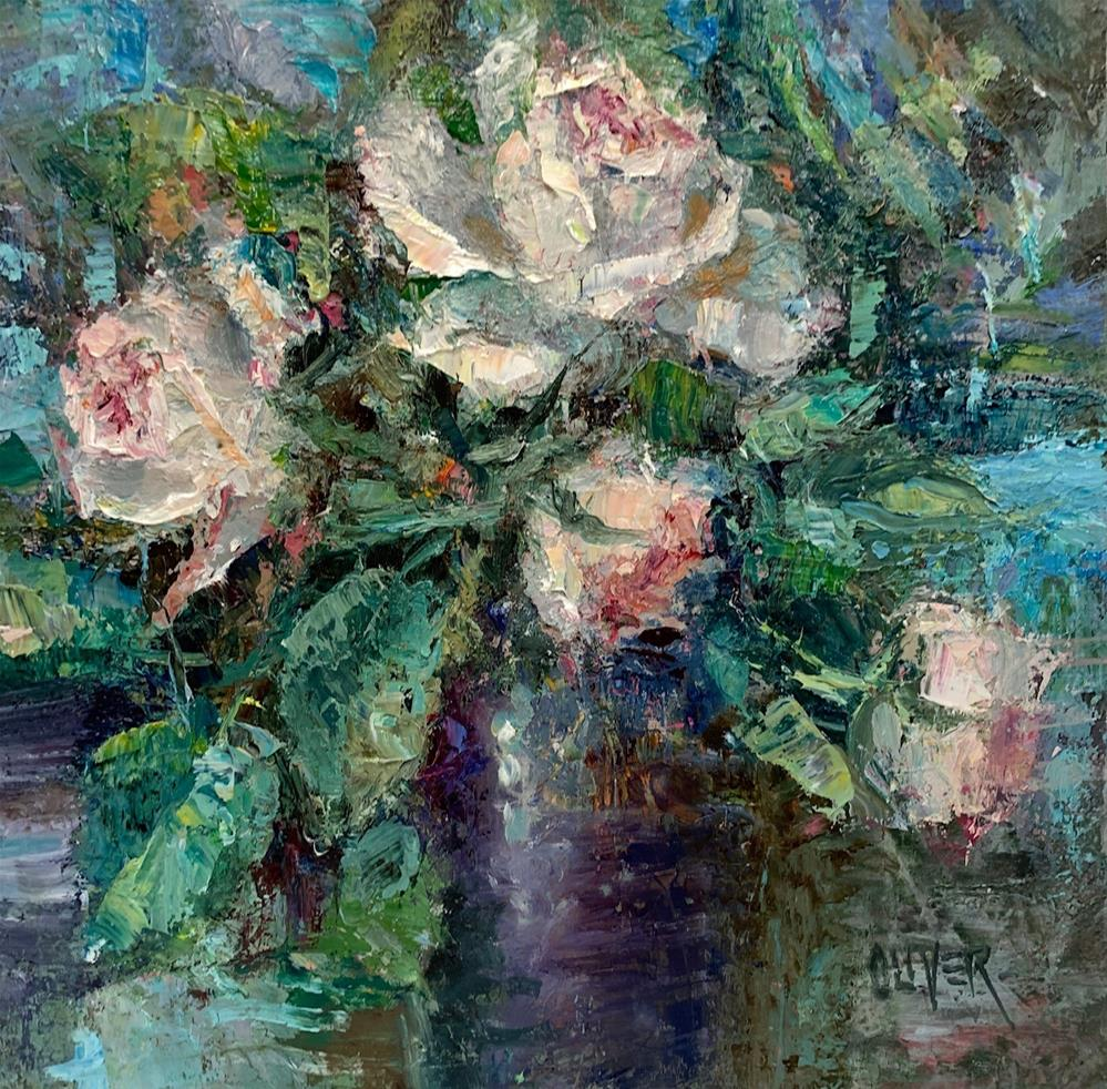 """Roses In A Square"" original fine art by Julie Ford Oliver"