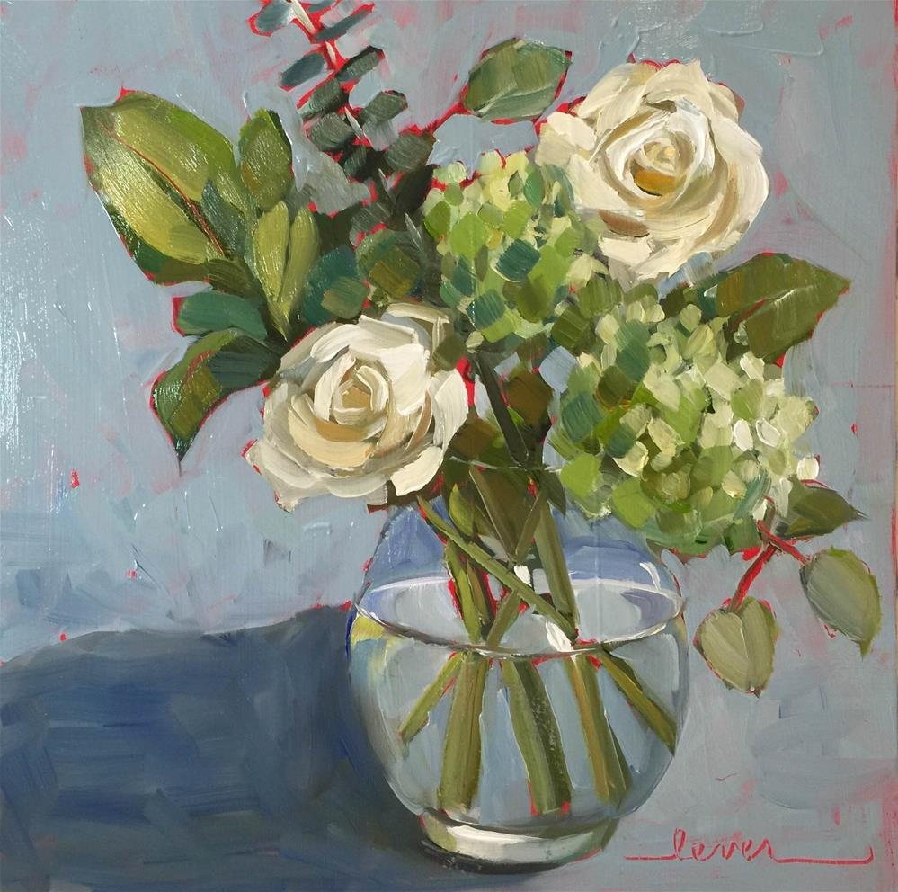 """""""Two White Roses"""" original fine art by Martha Lever"""