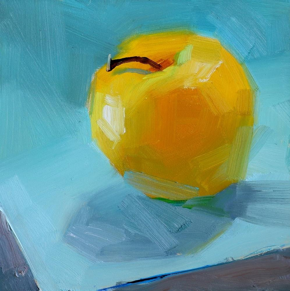 """""""Gold Apple on Blue"""" original fine art by Qiang Huang"""