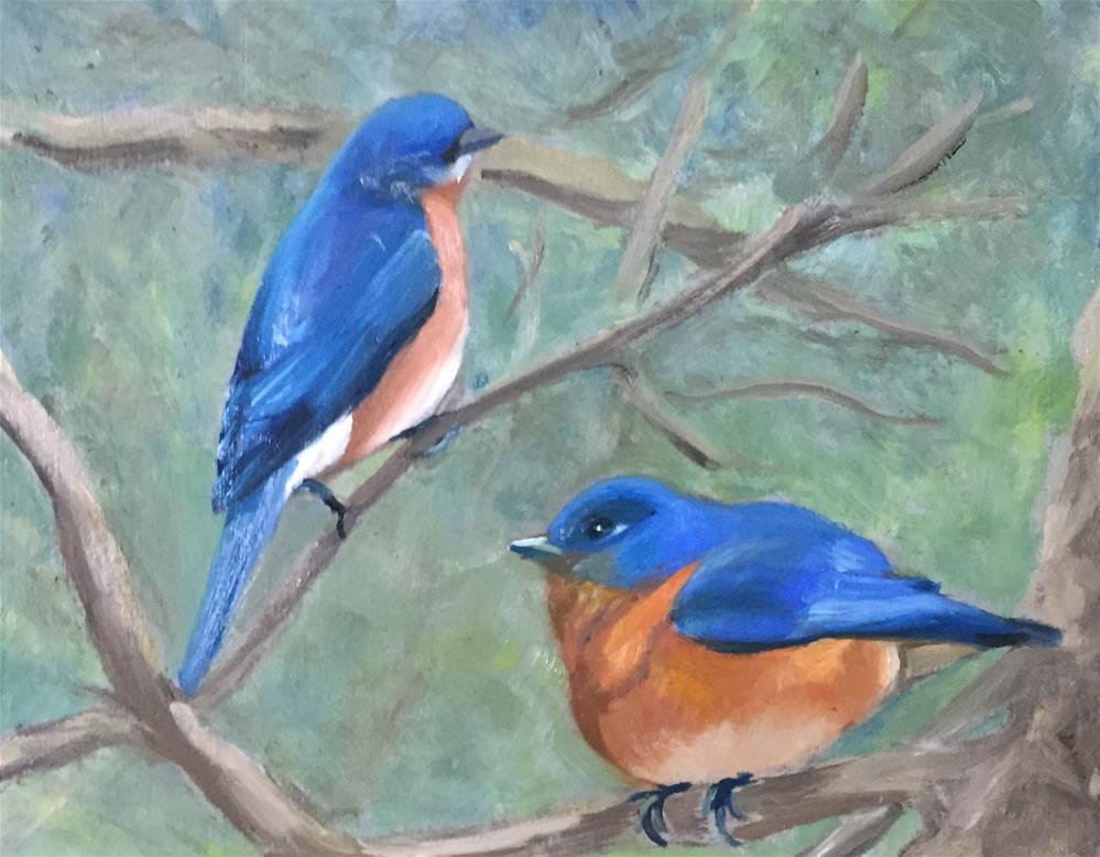 """Blue Birds"" original fine art by Carole Chalmers"