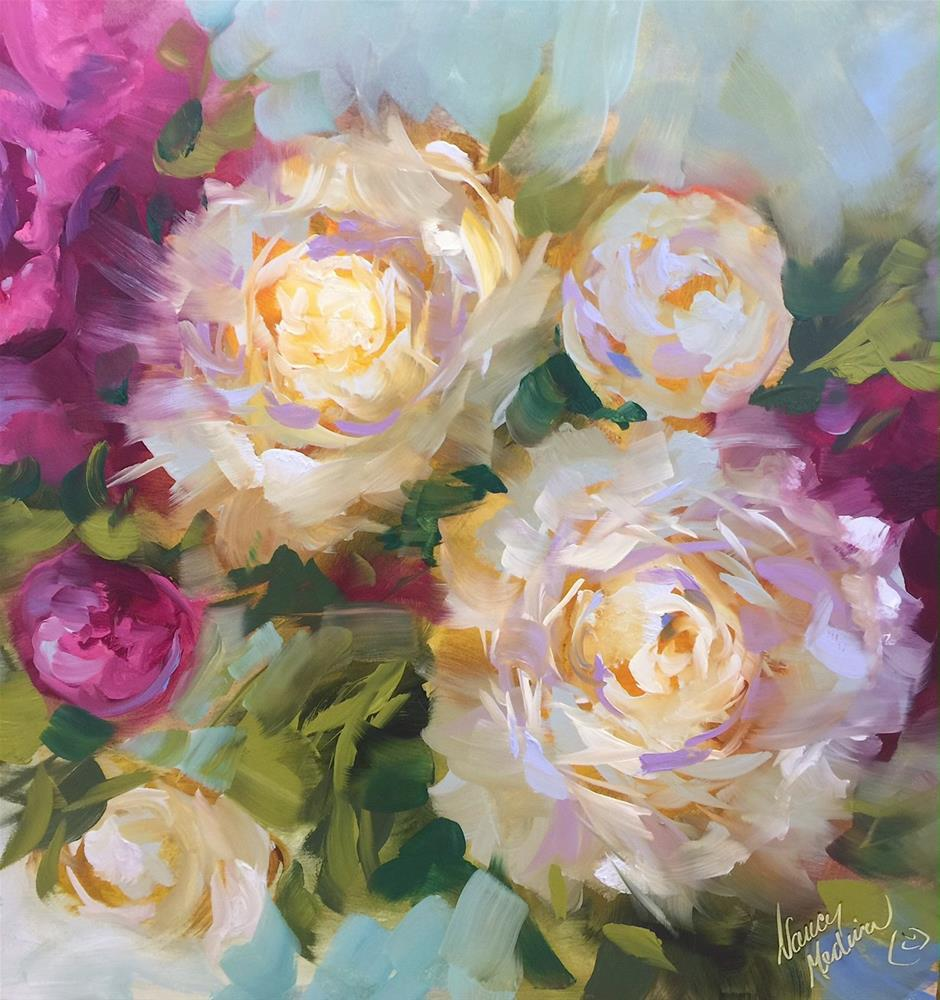 """Cape Cod Peonies"" original fine art by Nancy Medina"