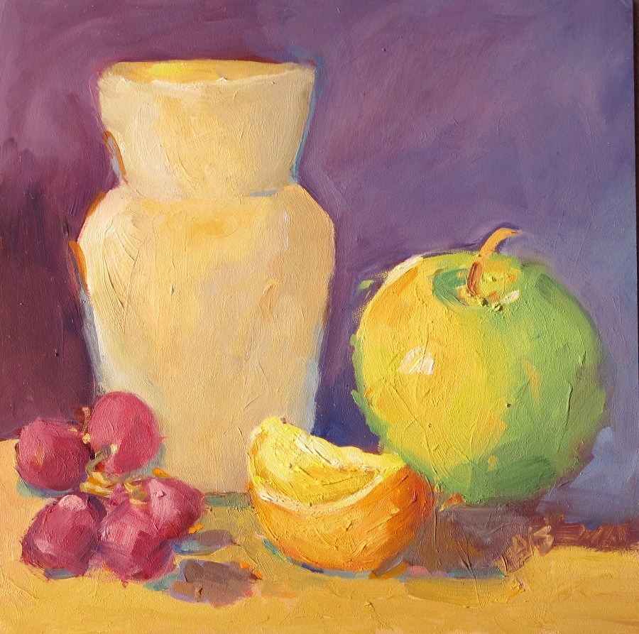 """Vase and Apple Still Life 12124"" original fine art by Nancy Standlee"