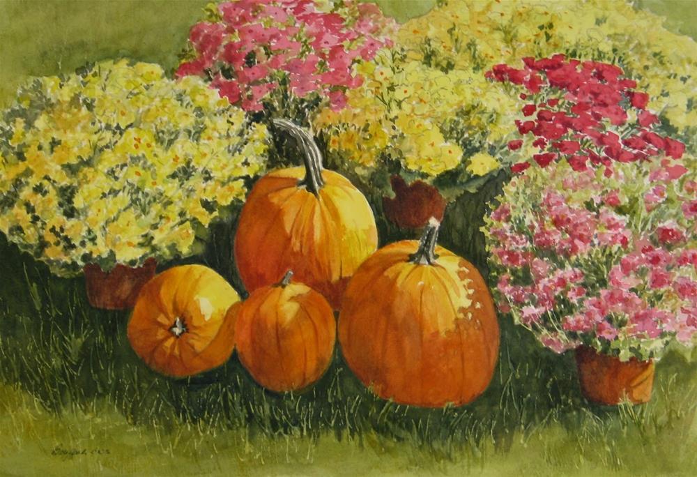 """""""All About the Pumpkins"""" original fine art by Vikki Bouffard"""