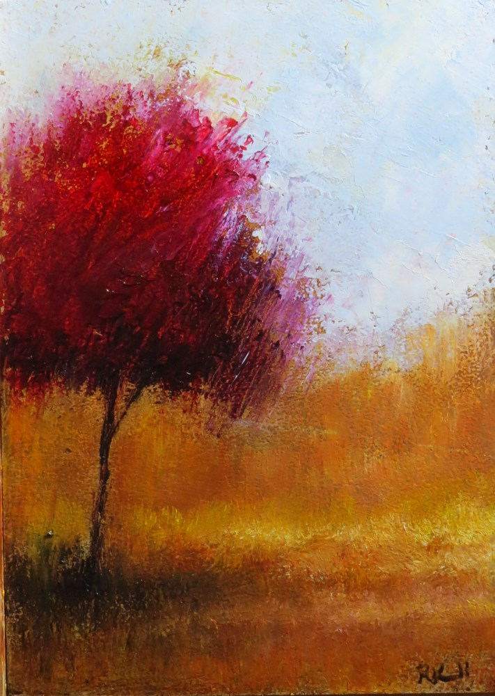 """""""Red Tree in the Park"""" original fine art by Bob Kimball"""