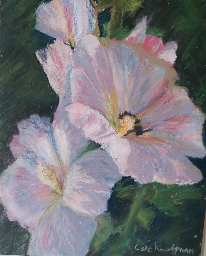 """Pink Hollyhocks"" original fine art by Catherine Kauffman"