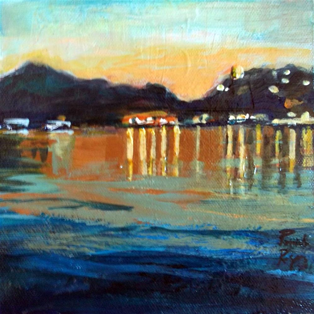 """Night Lights, Poros"" original fine art by Pamela Jane Rogers"