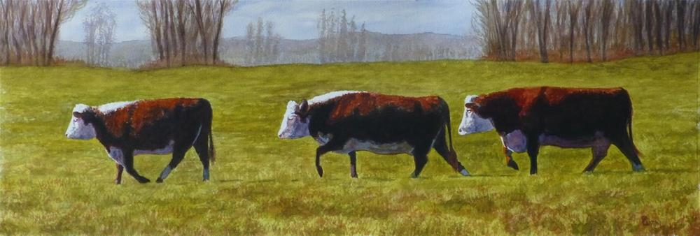 """Cow Series 7: Morning Troika Procession"" original fine art by Peter Lentini"