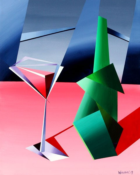 """""""Mark Adam Webster - Abstract Wine Bottle with Glass Still Life Acrylic Painting"""" original fine art by Mark Webster"""