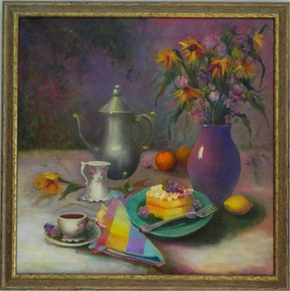 """Tea in the Garden, , 24x24, teatime paintings, cups, saucers, teapots, pansies, cake, lemons, garden"" original fine art by Maryanne Jacobsen"