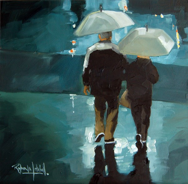 """""""No604 Home together in the Rain"""" original fine art by Robin J Mitchell"""