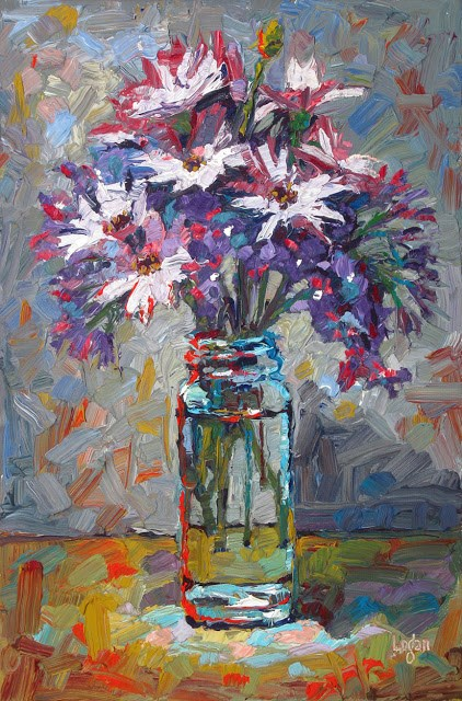 """""""African Daisies and Statice"""" original fine art by Raymond Logan"""