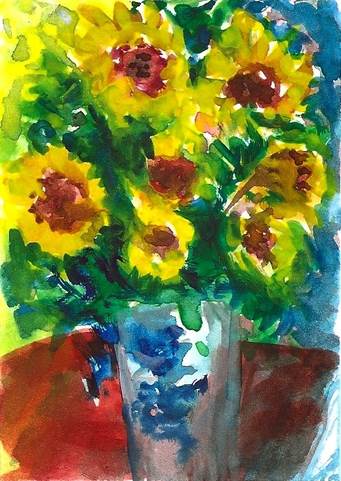 """""""ACEO NFAC Sunflowers Vase Monet Style Impressionist Painting Penny StewArt"""" original fine art by Penny Lee StewArt"""