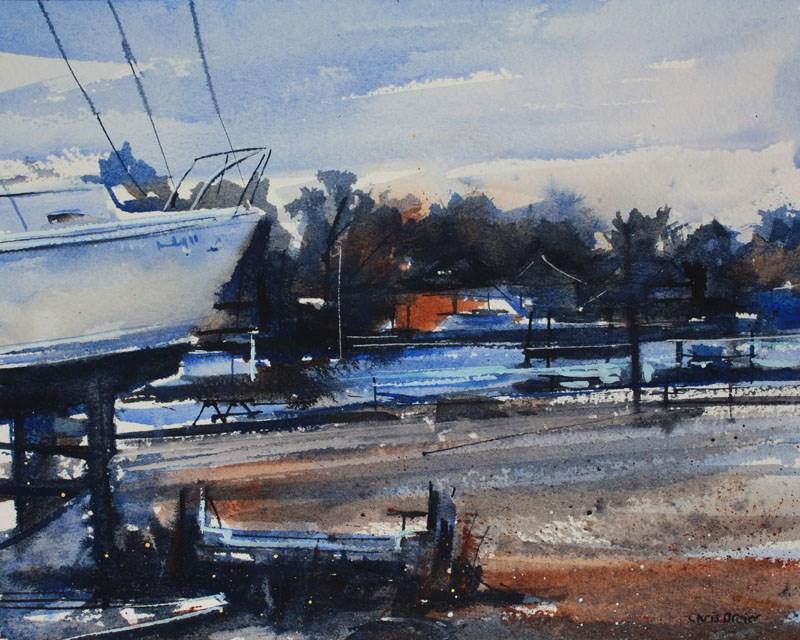"""""""Boatyard on Niagara"""" original fine art by Chris Breier"""