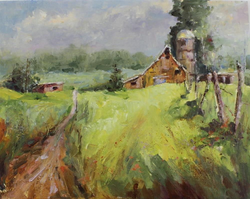 """Oil on panel landscape red barn rural country painting"" original fine art by Alice Harpel"
