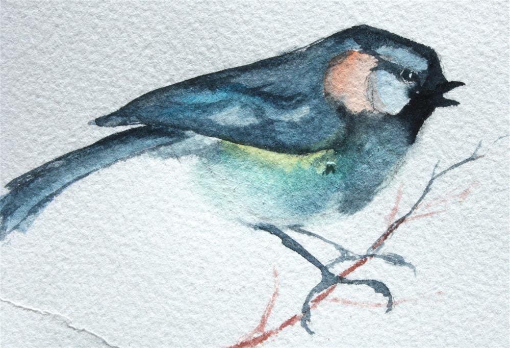 """""""Chickadee"""" original fine art by Colleen Drury"""