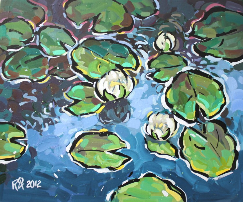 """Waterlily abstraction 1"" original fine art by Roger Akesson"
