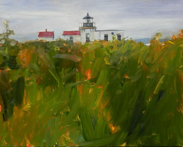 """""""Point no Point Light House from the Wetland Trail plein air , landscape painting by Robin Weiss"""" original fine art by Robin Weiss"""
