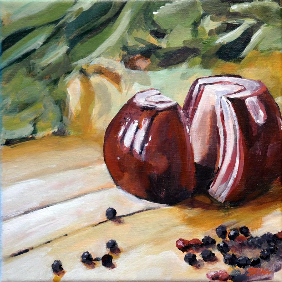 """1332 Onion Halves"" original fine art by Dietmar Stiller"